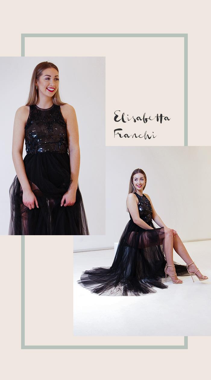 Elisabetta Franchi Schwarzes Abendkleid mit Tüllrock
