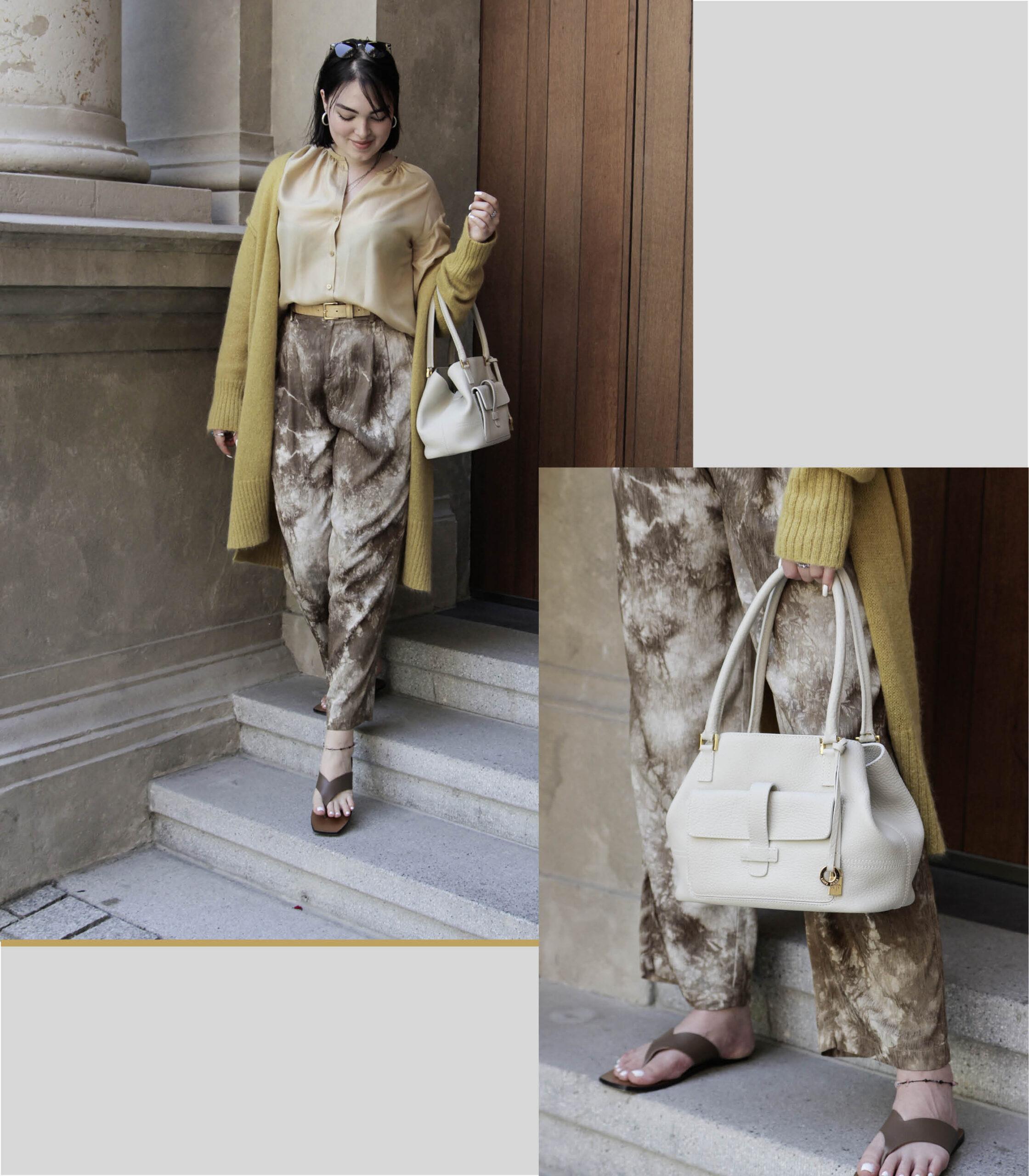 Zitronenfarbenes Outfit mit goldenen Details für sommerliche Temperaturen