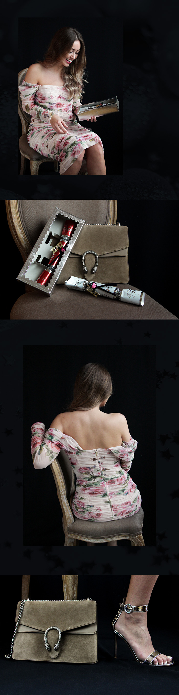 Romantisches Kleid mit Rosenprint von Dolce & Gabbana, Chiffon