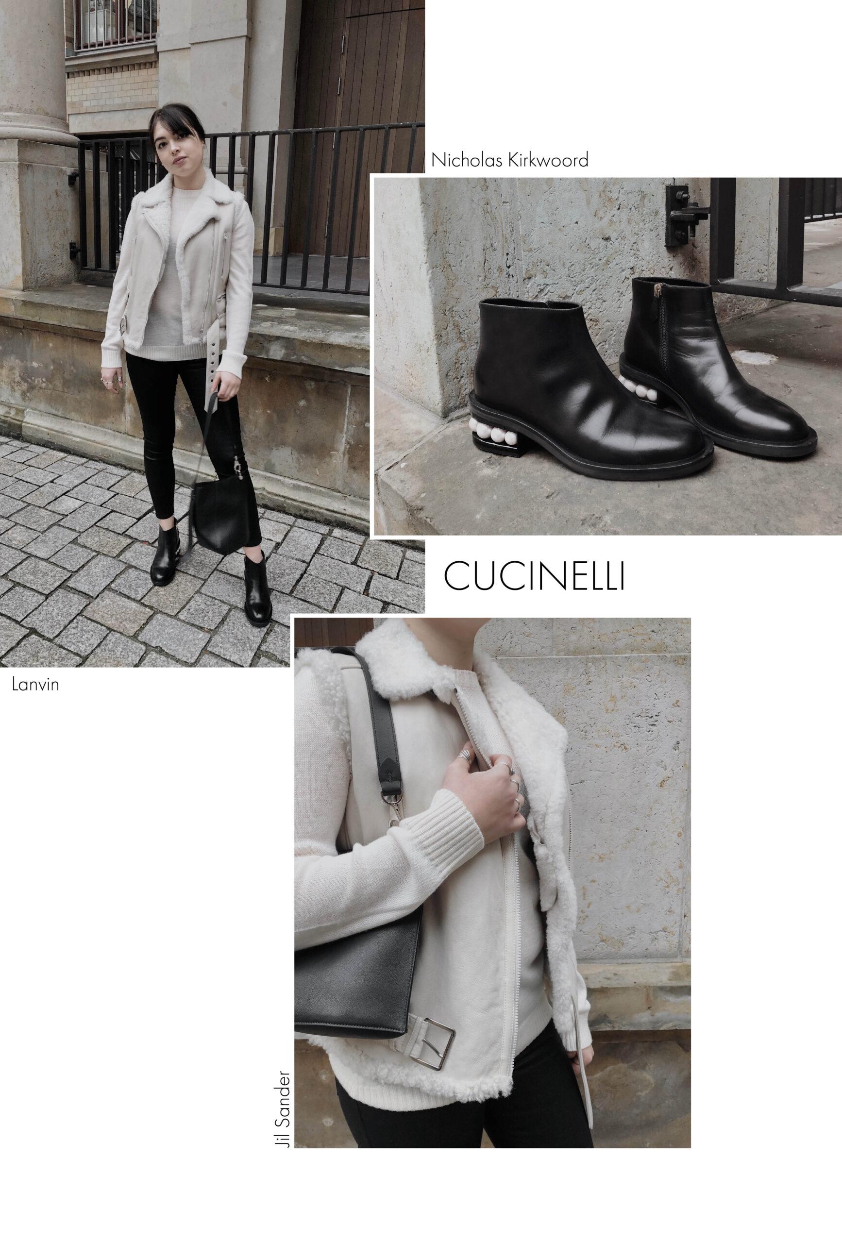 Winter SALE 2021: Schlussverkauf Outfit mit Cucinelli Shearling Bikerweste und schwarzen Accessoires
