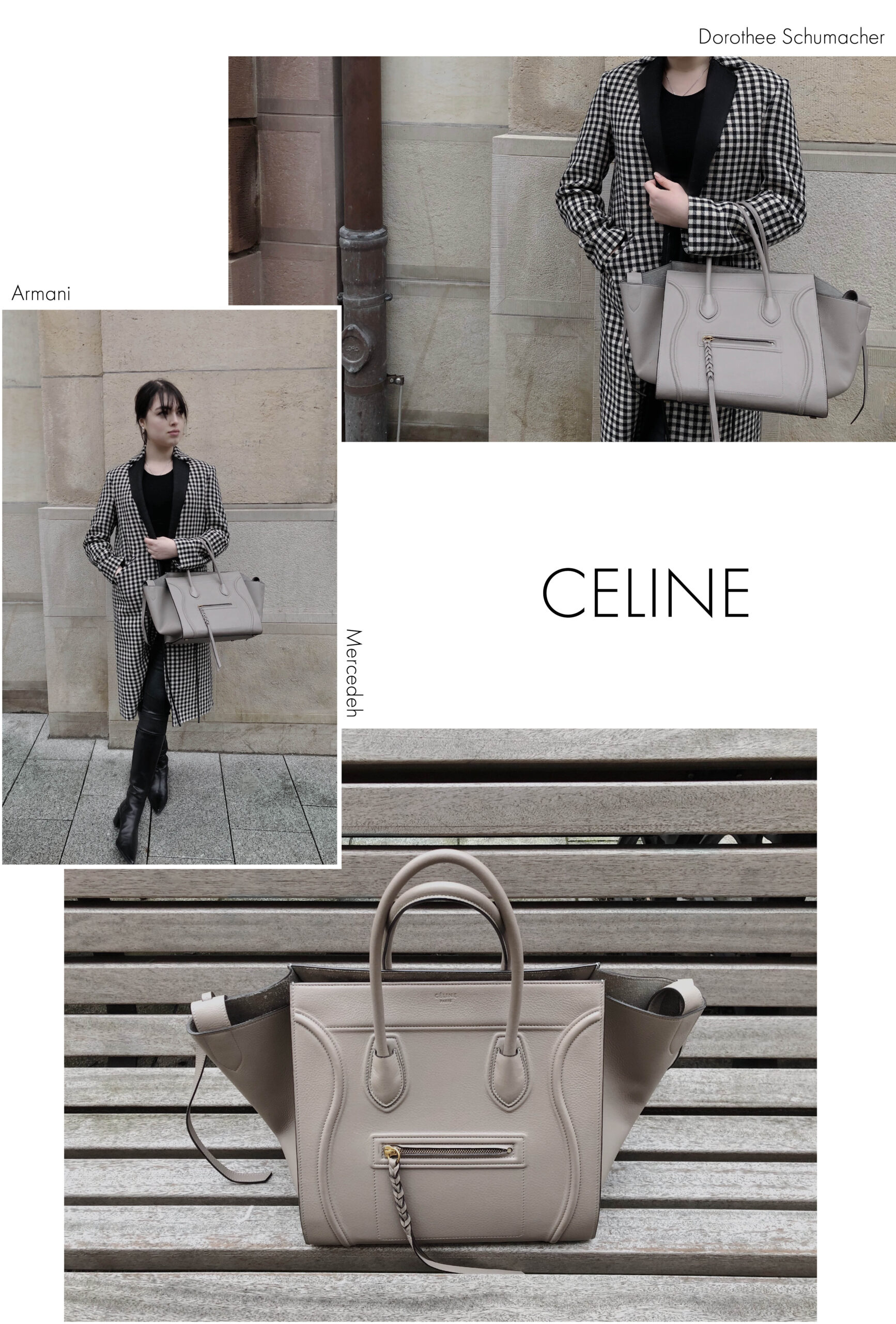 Secondhand Celine Phantom mit kariertem Sale Kontrast Mantel