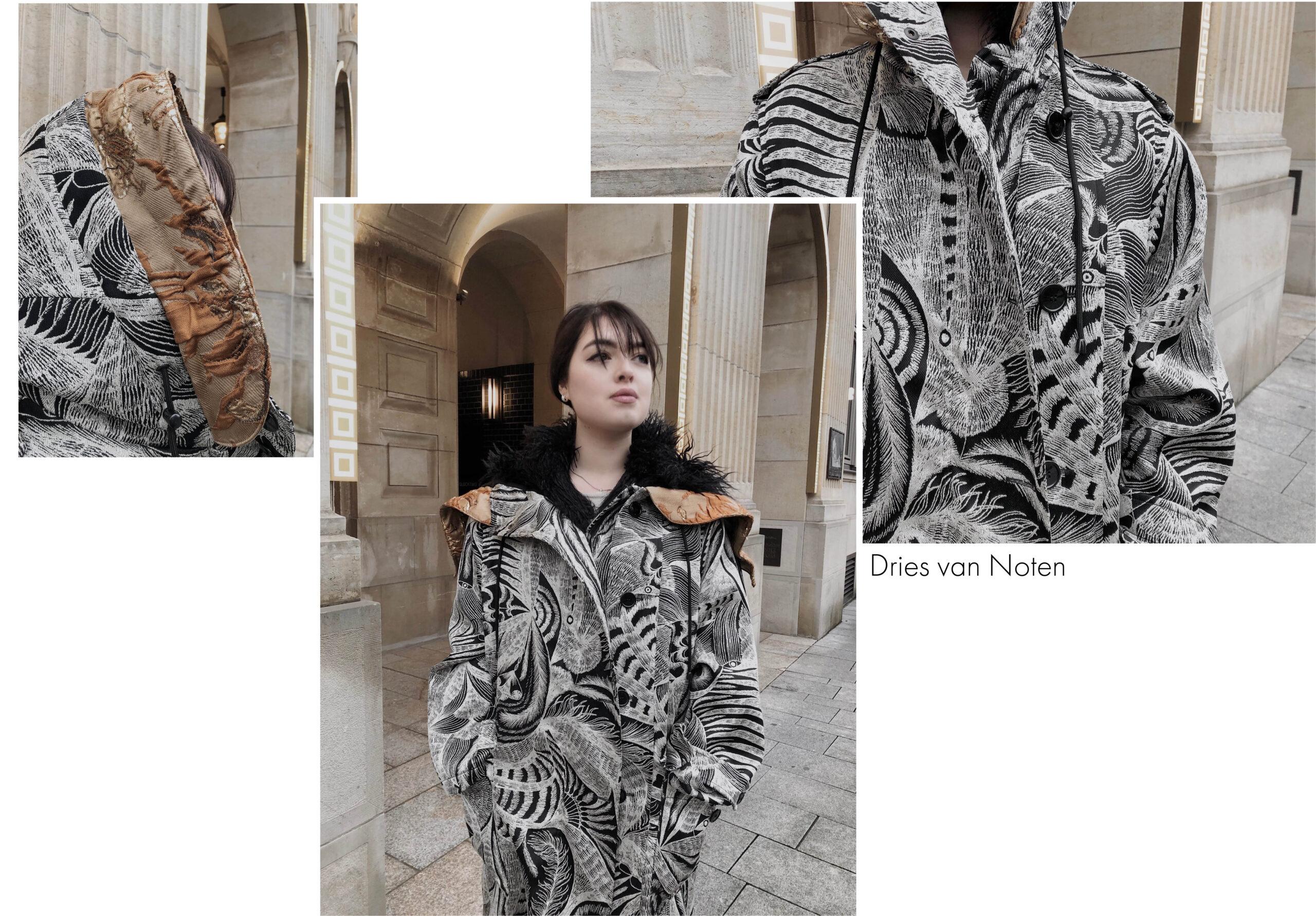 Langer reduzierter Designer Parka mit Muster und Fell