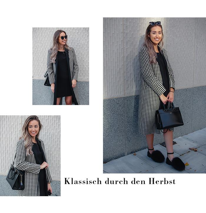 Woll-Mantel, schwarz-weiß, Vichy-Muster