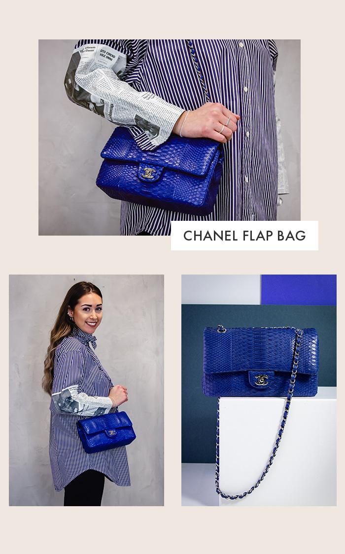 Chanel Classic Handbag 11.12 aus kobaltblauen Python-Leder