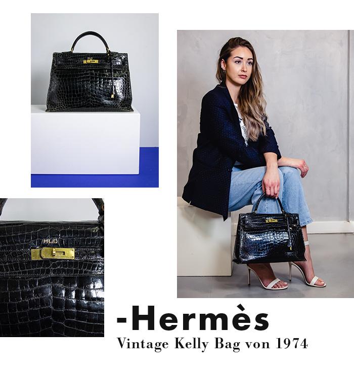 Hermès Vintage Kelly-Bag aus Kroko-Leder 1974