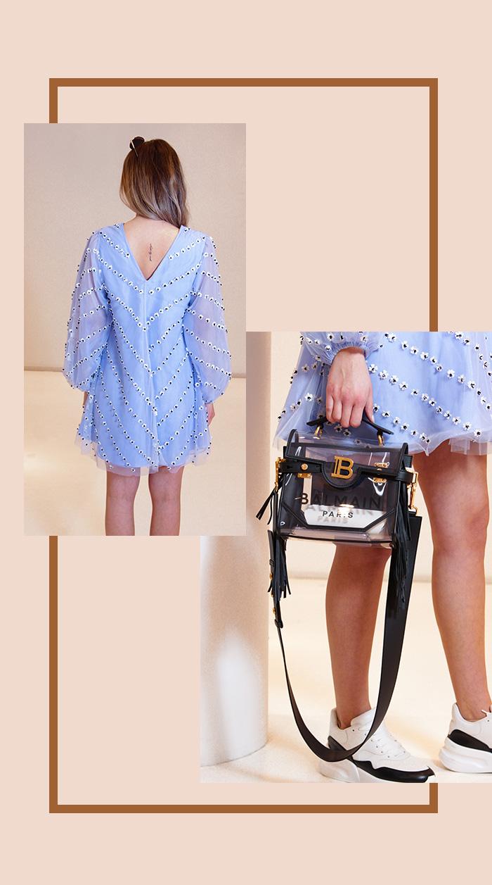 Designer Second Hand: Hellblaues Chiffon-Kleid von Ganni + Transparente Handtasche von Balmain