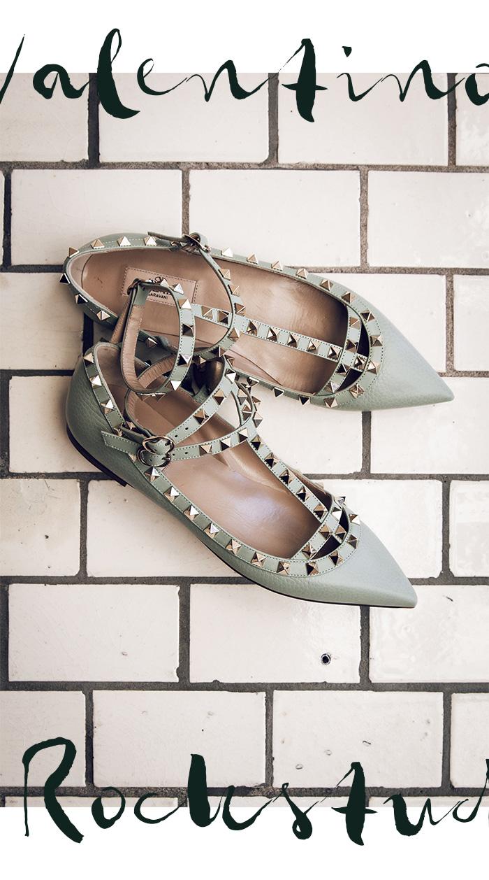 Valentino Garavani - Rockstud Ballerina, mint (Second Hand)