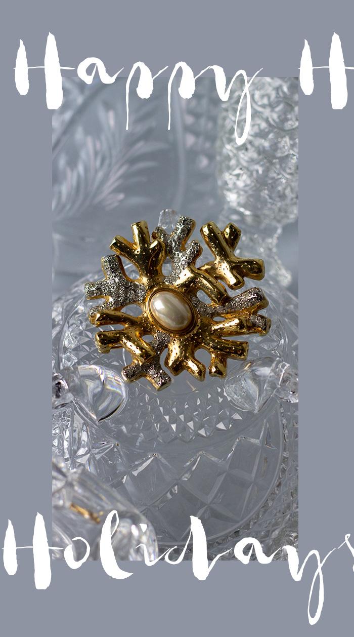 Vintage-Brosche Valentino Schneeflocke mit Perle