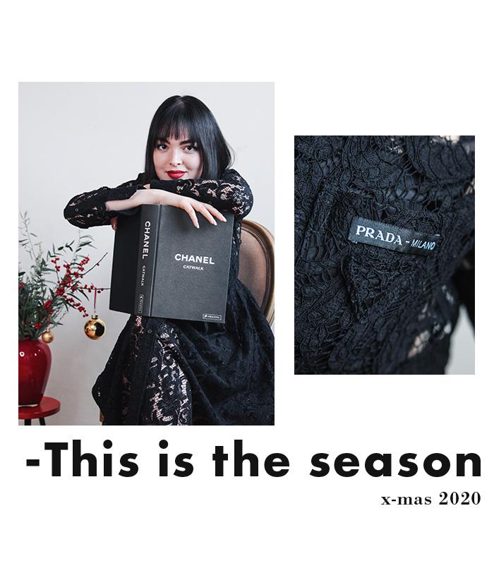Weihnachtliche Outfits - Prada Spitzenkleid, schwarz, gebraucht