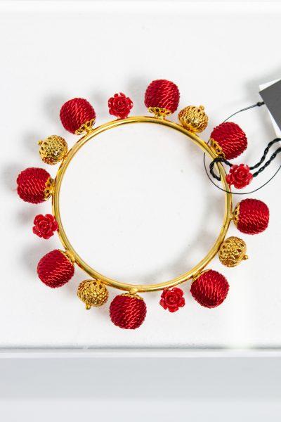 Dolce & Gabbana Armreif mit Kugeln in rot
