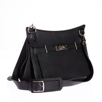 Hermès - Jypsière-Tasche aus Clémence Leder, schwarz