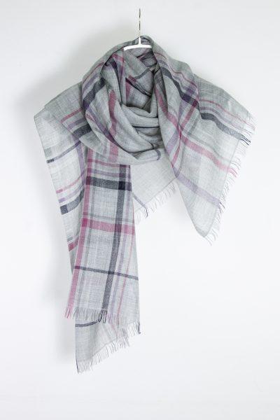 Brunello Cucinelli leichter Schal mit Karo-Muster aus Kaschmir und Seide