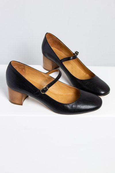 Isabel Marant Étoile schwarze Leder- Mary Janes mit braunem Absatz