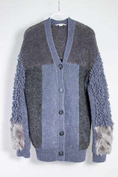Stella McCartney Patchwork Strickjacke mit Faux Fur Elementen