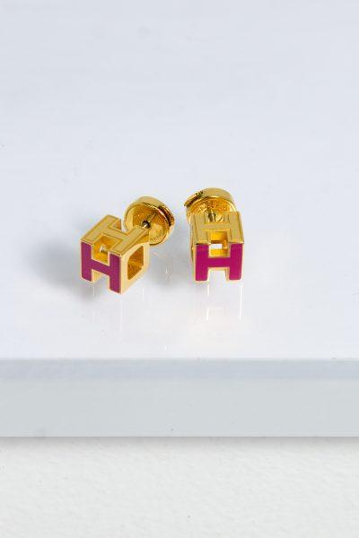 """Hermès Ohrringe """"Cage d`H"""" in gold, pink"""