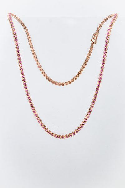 """ROSEARK Deux Halskette """"Pink Sapphire Tennis"""""""